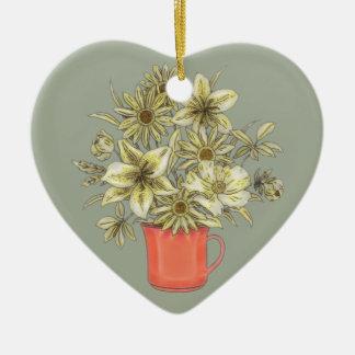 Ornamento De Cerâmica Flores na caneca de café 1