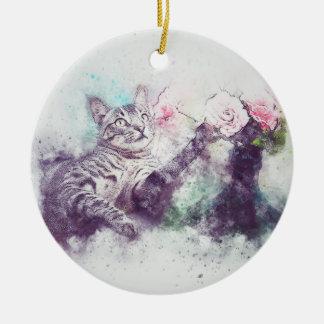 Ornamento De Cerâmica Flores para a aguarela do abstrato | do gatinho |
