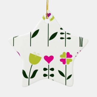 Ornamento De Cerâmica Flores populares/preto cor-de-rosa mágico no