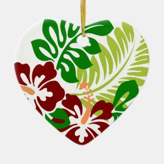 Ornamento De Cerâmica Flores tropicais do hibiscus