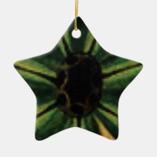 Ornamento De Cerâmica flores verdes da pétala