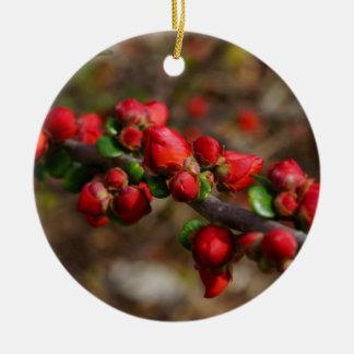 Ornamento De Cerâmica Flores vermelhas arborizados