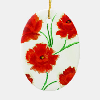 Ornamento De Cerâmica Flores vermelhas da papoila