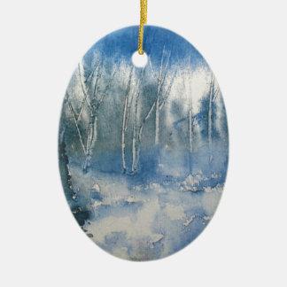 Ornamento De Cerâmica Floresta com as árvores em azul e em branco