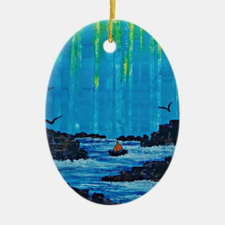 Ornamento De Cerâmica Floresta enevoada gigante pelo rio
