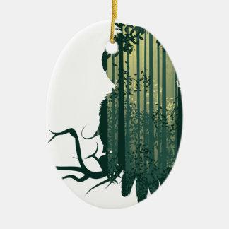 Ornamento De Cerâmica Floresta Landscape2 da coruja e do abstrato