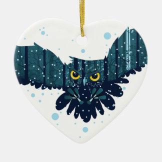 Ornamento De Cerâmica Floresta nevado do inverno e coruja 2