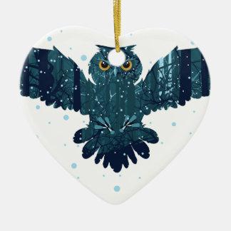 Ornamento De Cerâmica Floresta nevado e coruja do inverno