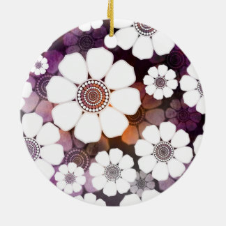 Ornamento De Cerâmica Flower power roxo Funky