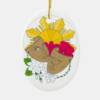 Ornamento De Cerâmica Fluxo filipino de Sampaguita do hibiscus de Sun da