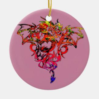 Ornamento De Cerâmica Fogo abstrato que respira o dragão tribal