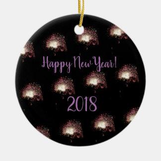 Ornamento De Cerâmica Fogos-de-artifício do feliz ano novo