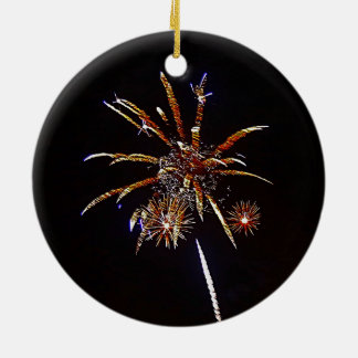 Ornamento De Cerâmica Fogos-de-artifício do Natal