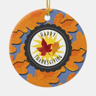 Ornamento De Cerâmica Folha feliz do carvalho da queda da acção de