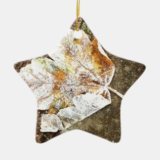 Ornamento De Cerâmica Folha gelado