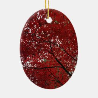 Ornamento De Cerâmica Folhas de outono vermelhos marrom do Outono da