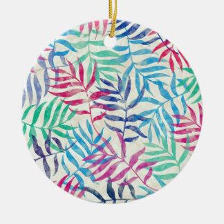 Ornamento De Cerâmica Folhas de palmeira tropicais da aguarela