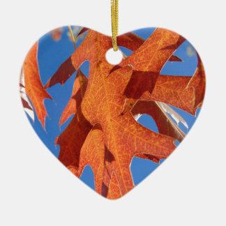 Ornamento De Cerâmica Folhas do carvalho vermelho