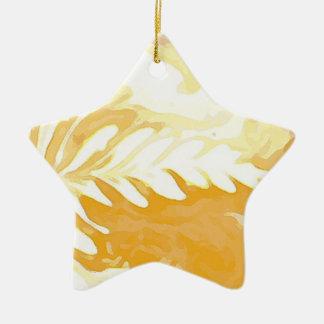 Ornamento De Cerâmica Folhas do copo de café do creme