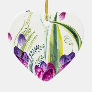 Ornamento De Cerâmica Folhas e flores tropicais para sua casa