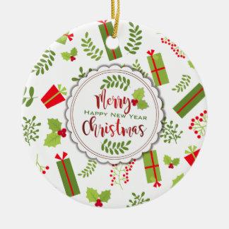 Ornamento De Cerâmica Foto bonita dos presentes do roteiro do Natal