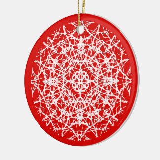Ornamento De Cerâmica Foto bonito branca do floco de neve do vermelho |