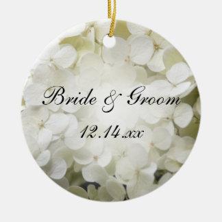 Ornamento De Cerâmica Foto branca do casamento do Hydrangea