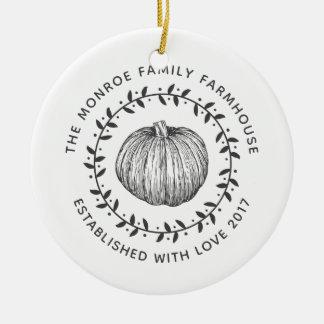 Ornamento De Cerâmica Foto de família da grinalda da abóbora do estilo