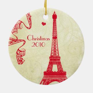 Ornamento De Cerâmica Foto de família do Natal com torre Eiffel