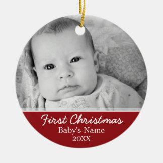 Ornamento De Cerâmica Foto do Natal do bebê primeira - o solteiro tomou