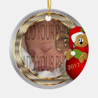 Ornamento De Cerâmica Foto do Natal do Diy do miúdo
