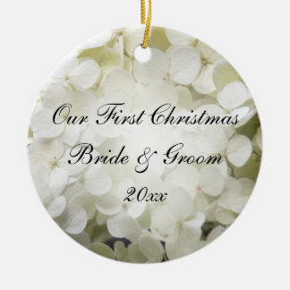 Ornamento De Cerâmica Foto do Natal do Hydrangea branco primeira