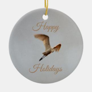 Ornamento De Cerâmica Foto do pássaro boas festas