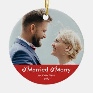 Ornamento De Cerâmica Foto espirituoso casado e da feliz | do feriado