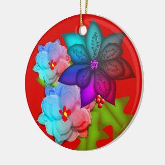 Ornamento De Cerâmica Foto floral do Succulent colorido do Natal