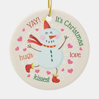 Ornamento De Cerâmica Foto personalizada boneco de neve do Natal