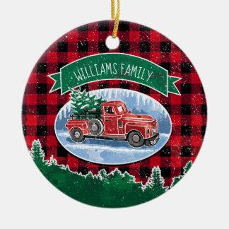 Ornamento De Cerâmica Foto personalizada caminhão do vintage do Natal