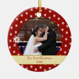 Ornamento De Cerâmica Foto personalizada do Natal dos flocos de neve