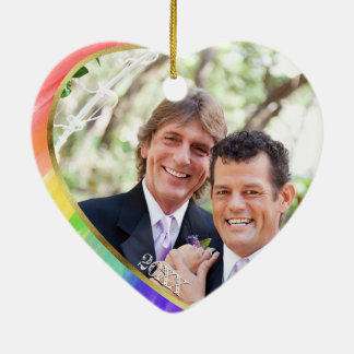Ornamento De Cerâmica Foto + Sr. do arco-íris LGBT & Sr. Aguarela