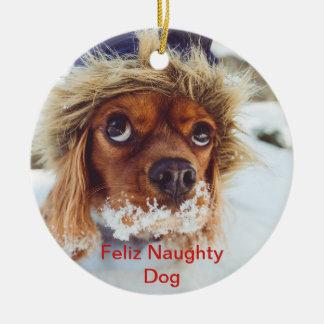 Ornamento De Cerâmica Foto subtitulada do animal de estimação do Natal