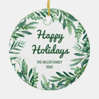 Ornamento De Cerâmica Foto verde do Natal da folha da aguarela