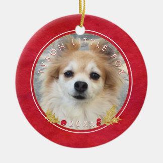 Ornamento De Cerâmica FOTO vermelha do ANIMAL DE ESTIMAÇÃO da aguarela