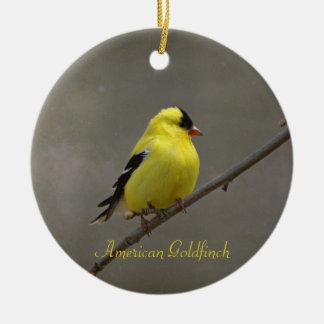 Ornamento De Cerâmica Fotografia americana do Goldfinch redonda