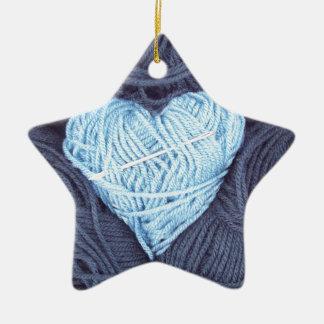 Ornamento De Cerâmica Fotografia bonita do coração azul de lãs