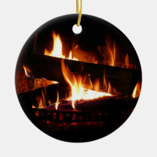 Ornamento De Cerâmica Fotografia morna da cena do inverno da lareira