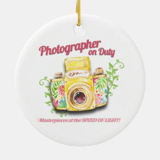 Ornamento De Cerâmica Fotógrafo no design da câmera do vintage do dever