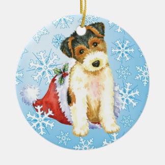 Ornamento De Cerâmica Fox feliz Terrier do fio de Howliday