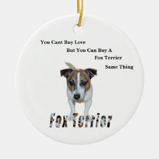 Ornamento De Cerâmica Fox Terrier você logotipo chanfrado do amor do