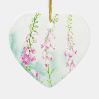 Ornamento De Cerâmica Foxgloves cor-de-rosa da aguarela