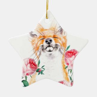 Ornamento De Cerâmica Foxy feliz e rosas